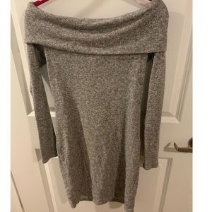 Express Grey Off the Shoulder Dress - Size Small
